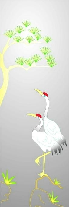 手绘送树丹顶鹤图图片