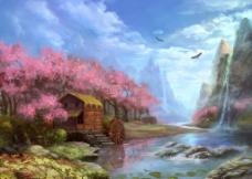 手绘梦幻风景图片