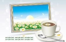 一杯咖啡和相框内的春天风景图片