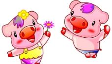 两头可爱的小猪图片