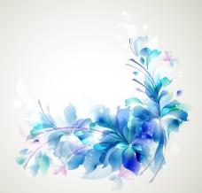 蓝色动感梦幻花纹花朵图片