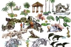 园林景观手绘psd分层素材图片