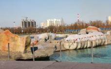 广场假山石图片