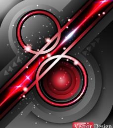 红色动感线条圈圈 商务科技背景图片