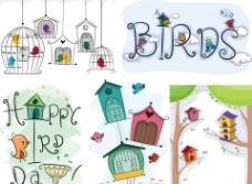 可爱鸟笼鸟屋小鸟花纹图片