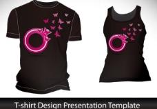 浪漫蝴蝶圈圈t恤背景设计图片
