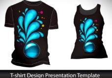 蓝色梦幻花纹t恤背景设计图片
