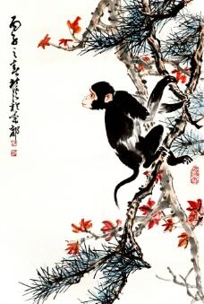 红叶墨猴图片