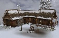 飘雪得木屋3d模型图片