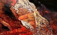 现代抽象装饰漆画素材图片