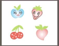 卡通可爱水果 苹果 草莓 樱桃 桃图片