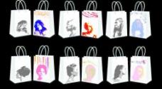 头像手提袋纸袋设计模板 (效果图)图片