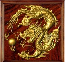 木框浮雕金龙图片