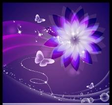 紫色时尚唯美炫彩花朵广告设计图片