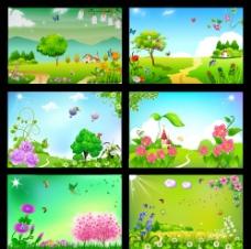春天卡通 风格展板图片