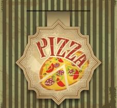 怀旧比萨食品标签图片