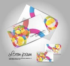 七彩圈圈时尚名片卡片图片