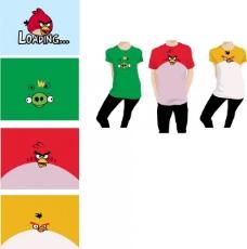 疯狂的小鸟t恤设计绿红黄图片
