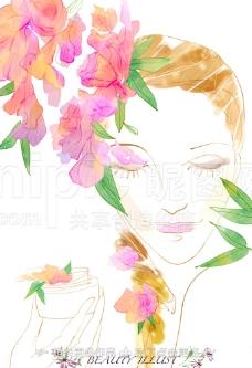 手绘女人图片