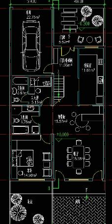 高尔夫别墅 联排住宅一层平面图片