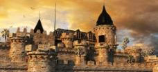 夕阳下的欧式城堡图片