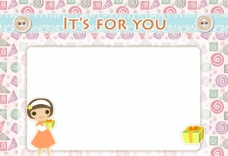 可爱女孩卡片图片