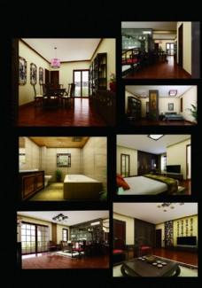 中式三居室平面图(含效果)