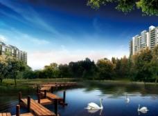 地产 湖景图片