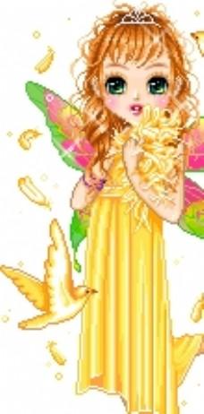 穿黄裙子女孩图片