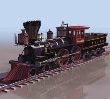 经典火车3d模型带贴图材质图片