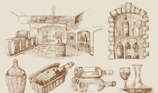 手绘葡萄酒素材图片
