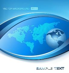 蓝色动感线条地球 商务科技背景图片