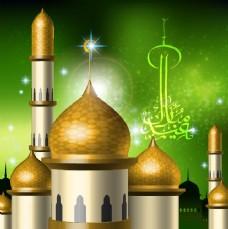 中东城堡建筑矢量素材