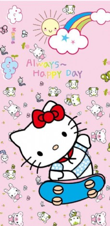 韩国卡通小猫太阳彩虹花纸图片