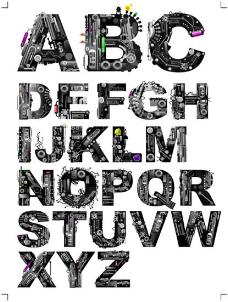 机械主题字母