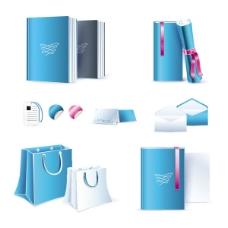 蓝色办公用具02——矢量素材
