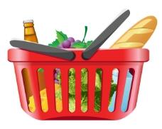 蔬果和购物筐01-矢量素材