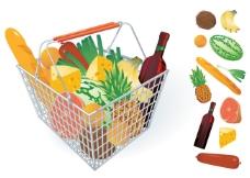蔬果和购物筐04-矢量素材