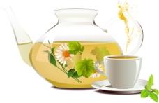 菊花茶茶具01—矢量素材