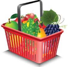 蔬果和购物筐02-矢量素材