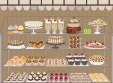 卡通橱窗商店蛋糕