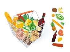 蔬果和购物筐白色