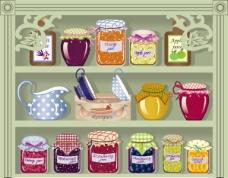 卡通橱窗商店水果罐头