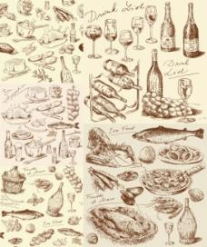 手绘线稿厨房食物元素