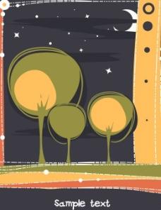 手绘黑夜中的小树图片
