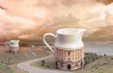 高楼 茶杯图片