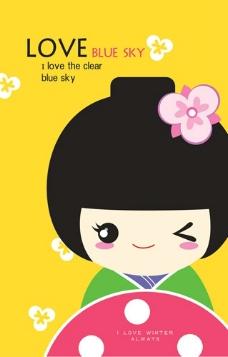 日本和服公主女孩卡通图片