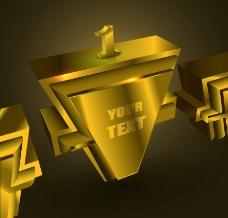 3d黄金领奖台金属背景图片