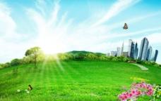 唯美城市花园风景图片