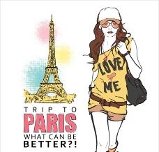 巴黎都市休闲时尚女孩图片